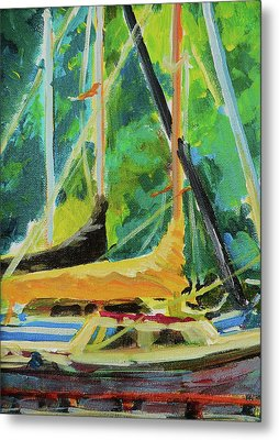 Boats Docked In The Morning Metal Print by Margaret  Plumb