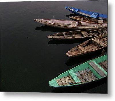 Boats In Dal Lake Metal Print by Manojaswathi Photography