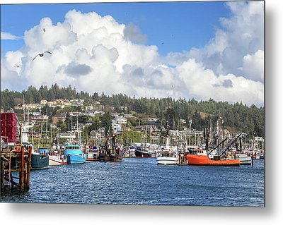 Metal Print featuring the photograph Boats In Yaquina Bay by James Eddy