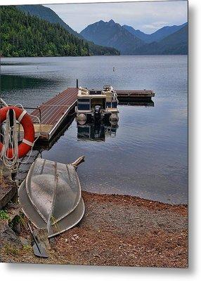 Boats On Lake Crescent Washington Metal Print