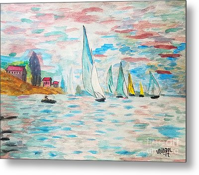 Boats On Water Monet  Metal Print by Scott D Van Osdol