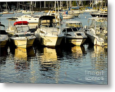 Boats Reflected Metal Print by Carol F Austin