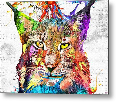 Bobcat Grunge Metal Print by Daniel Janda