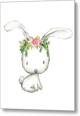 Boho Woodland Bunny Floral Watercolor Metal Print