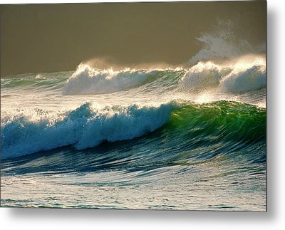 Boiler Bay Waves Rolling Metal Print by Mike  Dawson