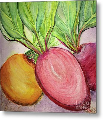 Metal Print featuring the painting Bold Beets by Kim Nelson