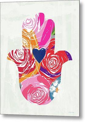 Bold Floral Hamsa- Art By Linda Woods Metal Print by Linda Woods