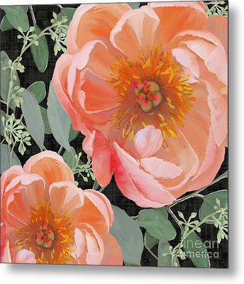 Metal Print featuring the painting Bold Peony Seeded Eucalyptus Leaves by Audrey Jeanne Roberts