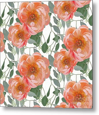 Metal Print featuring the painting Bold Peony Seeded Eucalyptus Leaves Repeat Pattern by Audrey Jeanne Roberts