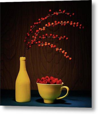 Bold Yellow With Raspberries Metal Print
