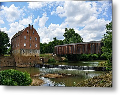 Bollinger Mill And Covered Bridge Metal Print by Marty Koch