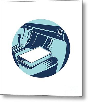 Book On Car Seat Oval Woodcut Metal Print