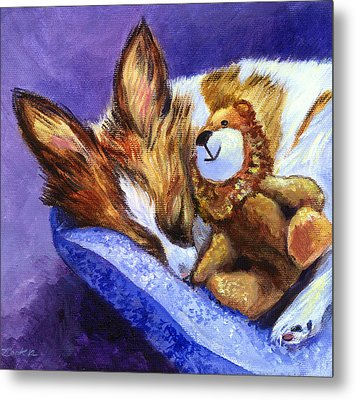 Bos And The Lion - Papillon Metal Print by Lyn Cook