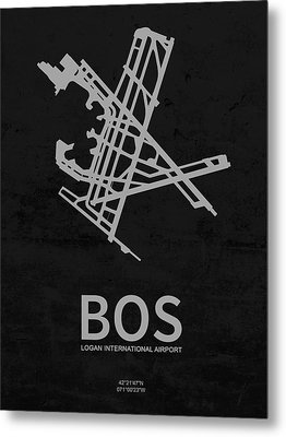 Bos Logan International Airport In Boston Massachusetts Usa Runw Metal Print