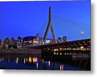 Boston Garden And Zakim Bridge Metal Print by Rick Berk