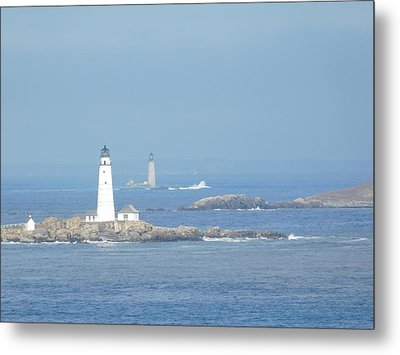 Boston Harbor Lighthouses Metal Print by Catherine Gagne
