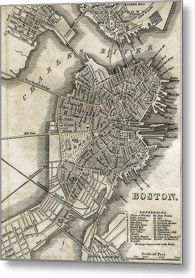 Boston Map Of 1842 Metal Print by George Pedro