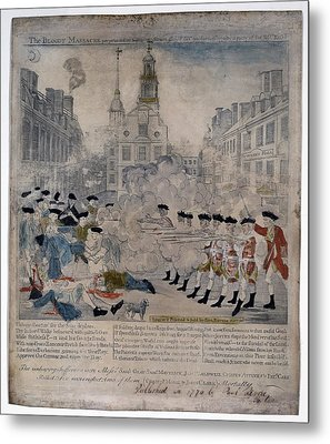 Boston Massacre.  British Troops Shoot Metal Print by Everett