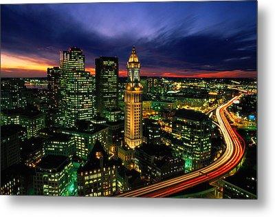 Boston Night Aerial With Time Exposure Metal Print by Joel Sartore