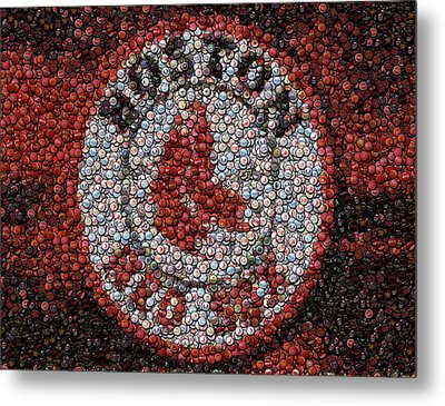 Boston Red Sox Bottle Cap Mosaic Metal Print by Paul Van Scott