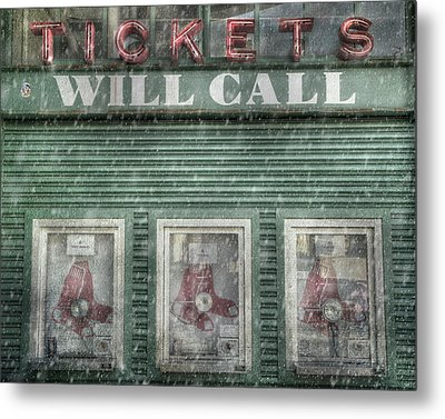 Boston Red Sox Fenway Park Ticket Booth In Winter Metal Print