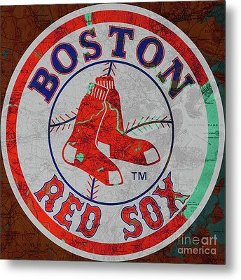 Boston Red Sox Logo On Old Boston Map Metal Print