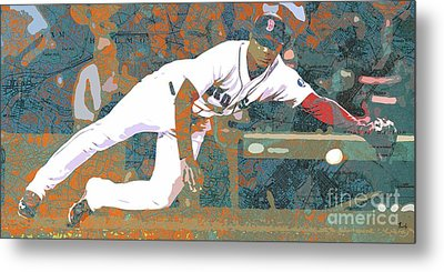 Boston Red Sox Player On Boston Harbor Map Metal Print