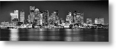 Boston Skyline At Night Panorama Black And White Metal Print
