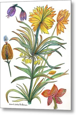 Botanical Flower-53  Yellow Flower Metal Print by Julie Richman