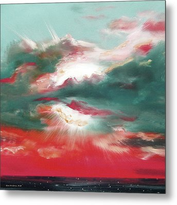 Bound Of Glory 2 - Square Sunset Painting Metal Print by Gina De Gorna