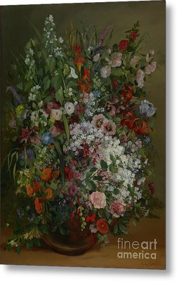Bouquet Of Flowers In A Vase By Gustave Courbet Metal Print by Esoterica Art Agency