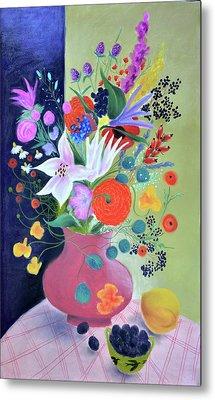 Bouquet With Dahlias And Blackberries Metal Print by Tatjana Krizmanic