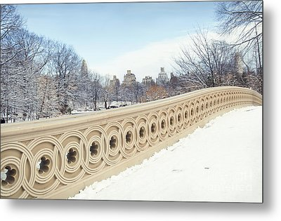 Bow Bridge In Winter The Central Park New York Metal Print by Design Remix