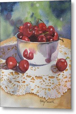 Bowl Of Cherries Metal Print by Kathy Nesseth