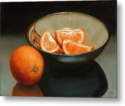 Bowl Of Oranges Metal Print