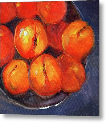 Metal Print featuring the painting Bowl Of Peaches Still Life by Nancy Merkle