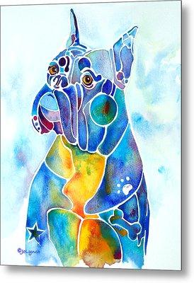 Boxer Dog Breed Blues Metal Print by Jo Lynch