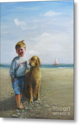 Boy And His Dog At The Beach Metal Print