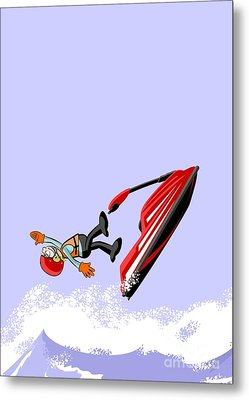 Boy Having Fun Jumping And Falling In The Ocean On A Jet Ski Metal Print