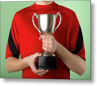Boy Holding Trophy Metal Print by Jeffrey Coolidge