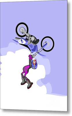 Boy Jumping High With His Blue Motocross Metal Print