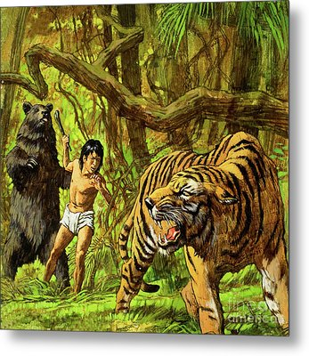 Boy With Bear And Tiger  Metal Print by English School