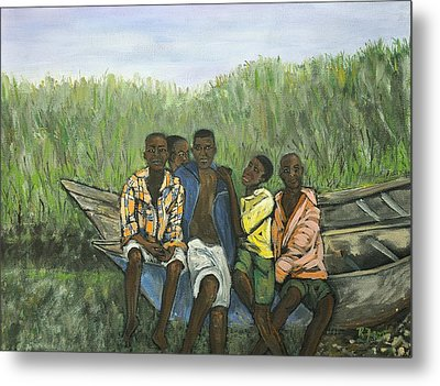 Boys Sitting On The Boat Uganda Metal Print by Reb Frost