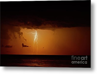 Branch Lightning Over Lake Metal Print by Charline Xia