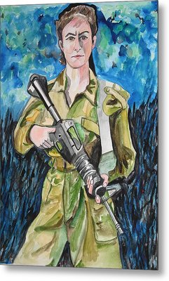 Metal Print featuring the painting Bravado, An Israeli Woman Soldier by Esther Newman-Cohen