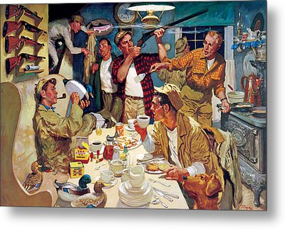 Breakfast At The Hunting Cabin Metal Print by Dwyer