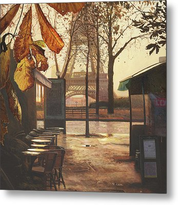 Breakfast In Paris Metal Print by Helen Parsley