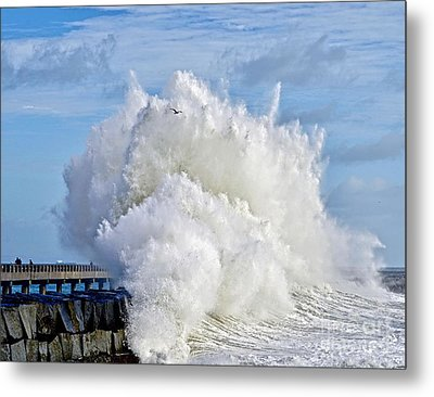 Breakwater Explosion Metal Print by Michael Cinnamond