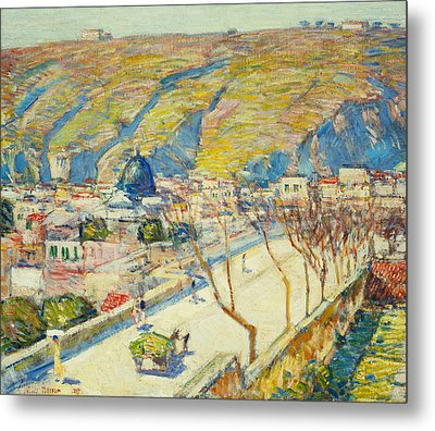 Bridge At Posilippo At Naples Metal Print by Childe Hassam