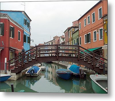 Bridge In Burano Italy Metal Print by Mindy Newman